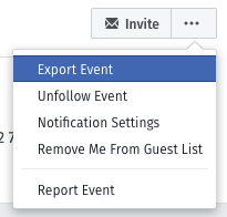 Image showing the location of the export option on Facebook